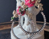 EARRINGS - rhinestone hoops hand painted flower floral shabby romantic pink white green, the french circus by robyn parrish