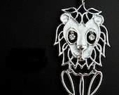 Vintage Articulated Large Lion Necklace Rhinestone Eyes - Lion Pendant - 1970s