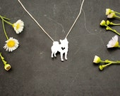 Shiba Inu necklace, sterling silver hand cut pendant, with heart, tiny dog breed jewelry