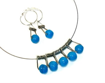 Turquoise Upcycled  Modern Necklace Earring Set, Repurposed Jewelry