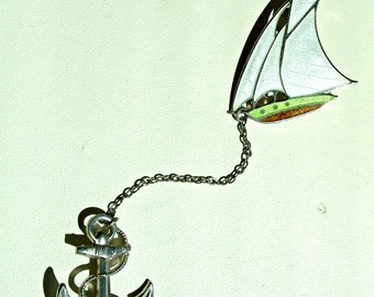 Sailboat Pin - Guilloche Enamel - Anchor Pin - Sailing Pin - Duette - Sweater Pin - 1930's - Nautical - Vintage
