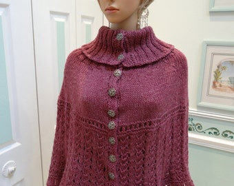 TURTLE NECK PONCHO/ Cape, dk.rose heather yarn, Size medium to large, wool acrylic blend, open lacey stitch, 12 decorative silver buttons