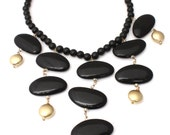 Huge Black and Gold Statment Necklace, Midnight Stones