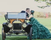 Green Wedding Dress with Organza Ruffles Custom Made Wedding Dress