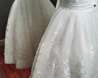 Tea Length Wedding Dress Sweetheart Neckline Strapless Custom Handmade to your Measurements