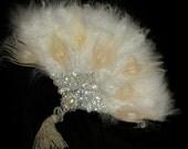 GATSBY PEACOCK FAN- Off White Peacock Feather Fan, Art Deco Flapper Fan, Crystal Feather Fan, 20s Bridal Feather Fan, Art Deco Feather Fan