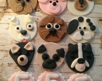 Fondant Puppies  Dog Fondant Cupcake, Cake, Cookie Toppers. Set includes 12 (one dozen)