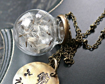 Dandelion Seed Globe Necklace, Dandelion Necklace, Dandelion Seeds, Wish Necklace, Wish Jewelry, Wish You Were Here