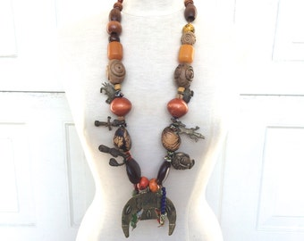 HUGE chunky tribal statement necklace large Brass Pendant Murano Glass Beads Long Necklace Jewelry Ethnic African Festival Boho