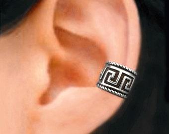 Greek Key ear cuff Sterling Silver earrings Greek Key jewelry Greek Key earrings Sterling silver ear cuff Small black clip men & women C-168