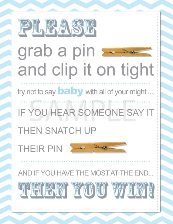 Custom Chevron Baby Shower Clothespin Game By HeathersCreations11