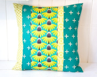 Patchwork Pillow Cover, 20x20, green, teal and yellow floral