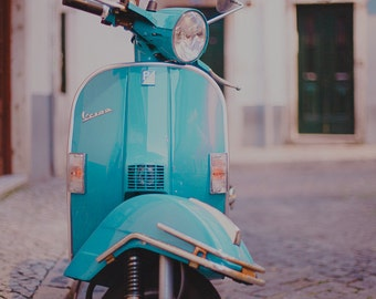 Blue Vespa Photo, Vespa Photo, Vintage Style, Feminine, Pastel Decor, Retro Hipster Style, Vespa Photograph, Vintage Vespa, Vespa Art Print