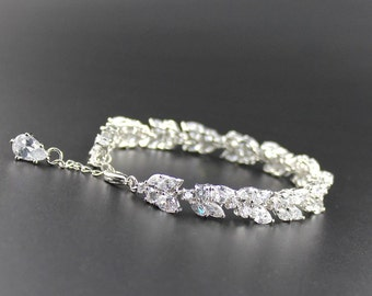 Crystal Silver Bridal Bracelet, Marquise Crystal Bracelet, Crystal Leafy Bracelet, Crystal Bridal Jewelry, Wedding Jewelry, CLEO