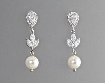 Pearl Bridal Earrings, Crystal & Pearl Wedding Earrings, Pearl Drop Earrings, CLIP On Option, Crystal Bridal Jewelry,  HAYLEY RP