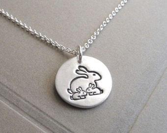 Small Mother and Twin Rabbit Necklace, Mom and Two Kids, New Mom Jewelry, Twin Jewelry, Fine Silver, Sterling Silver Chain, Made To Order