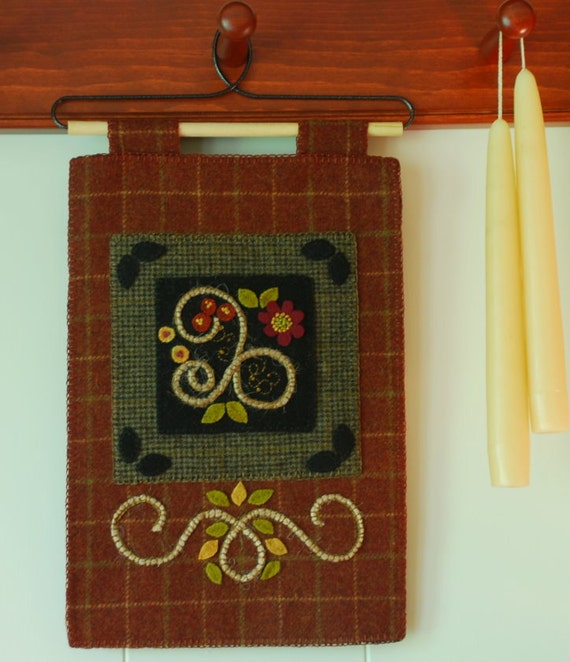 Items Similar To Wool Applique Wall Hanging Red Plaid Rug