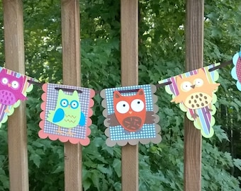 Owl Banner READY TO SHIP  Give a Hoot Owl Bunting Yellow Lime Aqua Teal Orange Brown