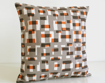 Pillow Cover, Decorative Cushion Cover, 18x18 Pillow Sham, 18 Inch Sofa Pillow, Pillowcase, Decorative Pillows - Graphic Blocks Orange