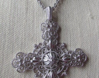 Vintage Trifari Silver Cross Necklace, Ornate Filigree Large Cross Pendant, Estate Jewelry,
