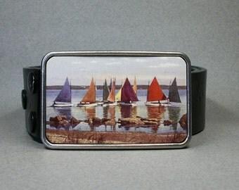 Belt Buckle Vintage Rainbow Fleet Nantucket Sailboat Race Unique Gift For Men Or Women