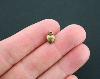 6 Heart Charms Antique Bronze Tone 3D Puff Heart - BC416