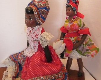 Two Mid Century Caribbean Island Culture Souvenirs - Colorful Clothing - Black Female Dolls