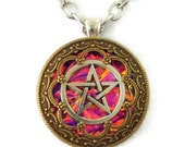 Pink Fire Pentacle Bronze and Silver Edwardian Filigree Amulet Pendant