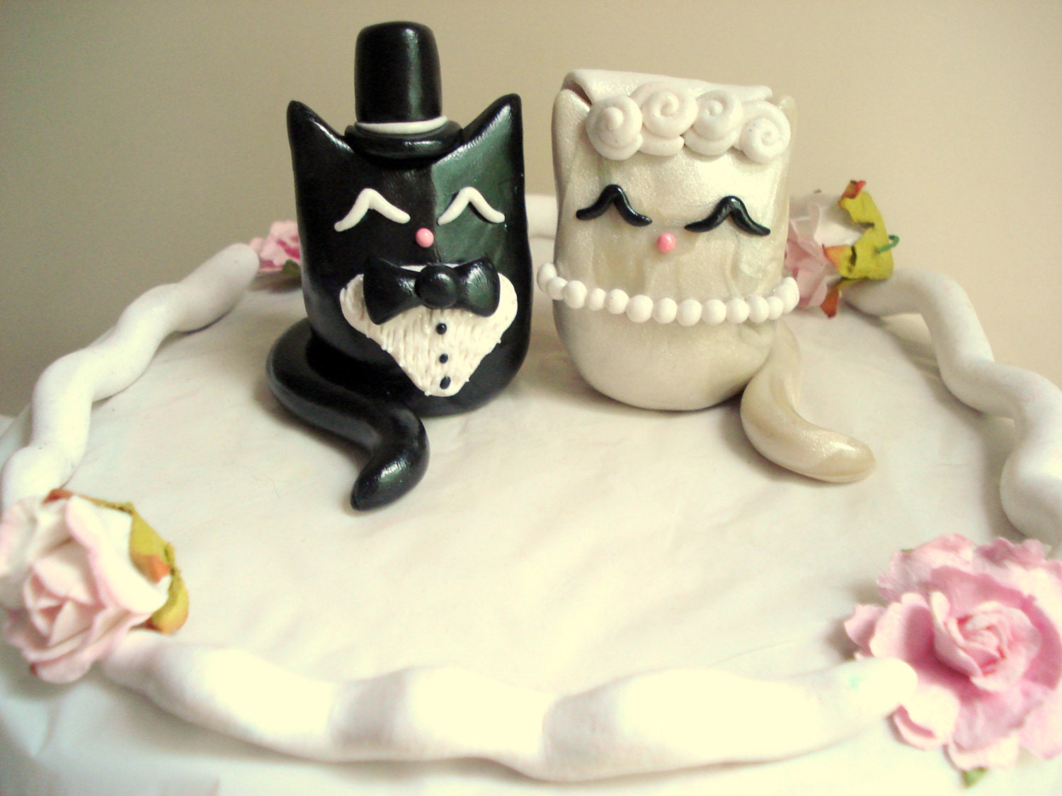 Cat wedding cake topper polymer clay kitty cake topper zoom junglespirit Choice Image