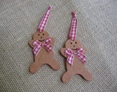 Gingerbread Boy Christmas Felt Ornaments Set of TWO Red and Brown Ornaments Gingham Plaid Ribbon Trim SnowNoseCrafts