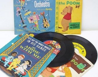 Vintage Kids Vinyl Records Nursery Rhymes 1960s 45 Records Humpty Dumpty Winnie the Pooh Little Golden Lot of 5 - As Is