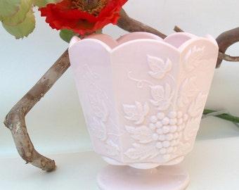 Vintage Glass Planter | Pink Glass Vase | Milk Glass Flower Pot | Jeannette Glass | Pink Flower Vase | Grape Decor