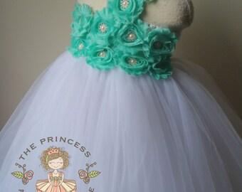 flower girl dress seafoam, seafoam dress, seafoam tutu dress, tutu dress, flower girl dress, girls dresses, white flower girl dress