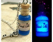 Drink Me Bottle - Alice in Wonderland - Glass Bottle Necklace - Glass Vial Pendant -  Black Light Glow in Dark - Alice Key Necklace