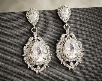 Bridal Wedding Earrings, Crystal Dangle Bridal Earrings, Old Hollywood Wedding Bridal Jewelry, Art Deco Zirconia Teardrop Earrings, LIBBY