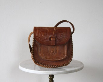 Leather Bag Brown Tooled BULL Floral Purse - 1960s VINTAGE