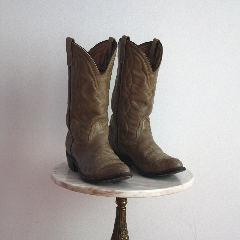 cowboy boots s 8 8 5 leather grey gray taupe by fiiimac