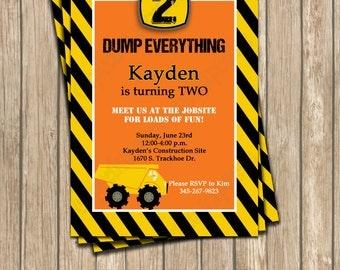 Construction Zone Birthday Party  PRINTABLE Invitation 5x7 4x6  dump truck tools cupcake express