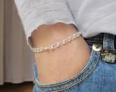 dainty pearl bracelet, layer bracelet, white pearl bracelet, tiny pearl bracelet, double chain bracelet, pearl layer bracelet,layer bracelet