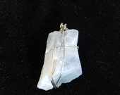 Blue Calcite Natural Rough Gemstone Wire Wrapped Pendant