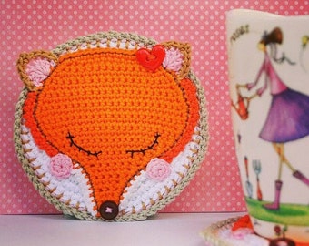 Crochet fox coaster - pattern DIY