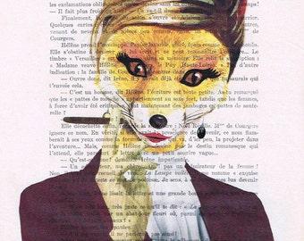 Classy Fox Lady - Coco de Paris, Print Illustration Acrylic Painting Animal Painting  Decor Wall hanging Wall Art  illustration painting