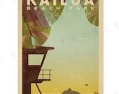 Kailua Beach Park - 12x18 Retro Hawaii Print
