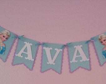 Frozen Happy Birthday Banner, Princess Anna Banner, Princess Elsa Banner, Frozen party decorations,Frozen party supplies. Frozen Decorations