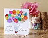 Handmade Personalised Birthday Card - 3D Birthday Balloons Card, Happy Birthday Name, Personalized, Mum, Dad, Son, Daughter, Boy, Girl BHE14
