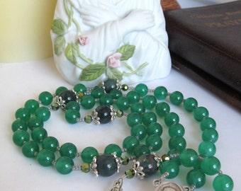 Catholic Rosary Green Onyx Celtic Crucifix