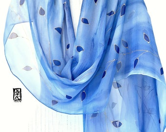 Hand Painted Silk Scarf, Blue Large Silk Scarf, Gold and Blue Vines, Silk Chiffon Scarf. 21x89 inches.