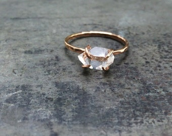 VALENTINES DAY, Herkimer Diamond, Non Traditional Engagement, Handcrafted Claw Ring, 14k Gold filled OR Solid Gold