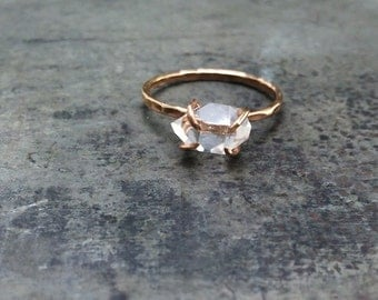 valentines day herkimer diamond non traditional engagement handcrafted claw ring 14k gold - Non Traditional Wedding Rings