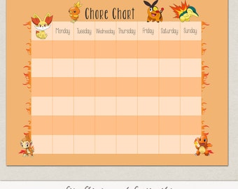 Blank Fire Pokemon Behavior or Chore Chart * Visual Schedule * Instant Download